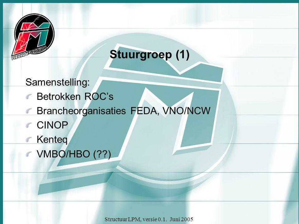 Structuur LPM, versie 0.1. Juni 2005 Stuurgroep (1) Samenstelling: Betrokken ROC's Brancheorganisaties FEDA, VNO/NCW CINOP Kenteq VMBO/HBO (??)