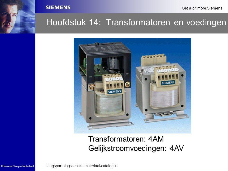 Laagspanningsschakelmateriaal-catalogus  Siemens Groep in Nederland Get a bit more.Siemens. Hoofdstuk 14: Transformatoren en voedingen Transformatore