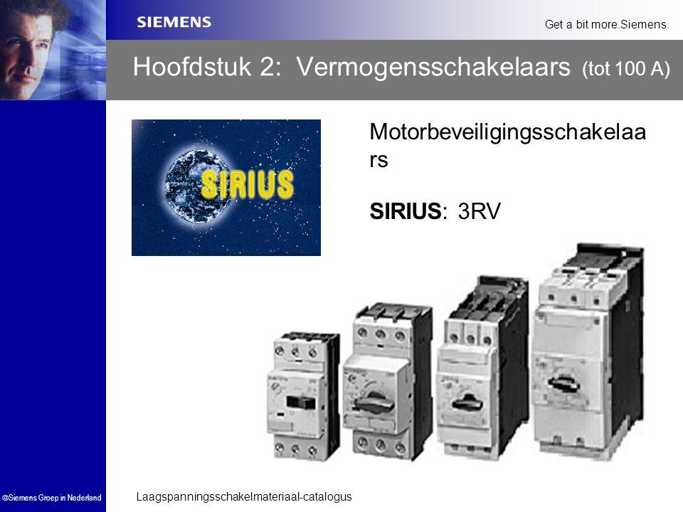 Laagspanningsschakelmateriaal-catalogus  Siemens Groep in Nederland Get a bit more.Siemens. Hoofdstuk 2: Vermogensschakelaars (tot 100 A) SIRIUS: 3RV