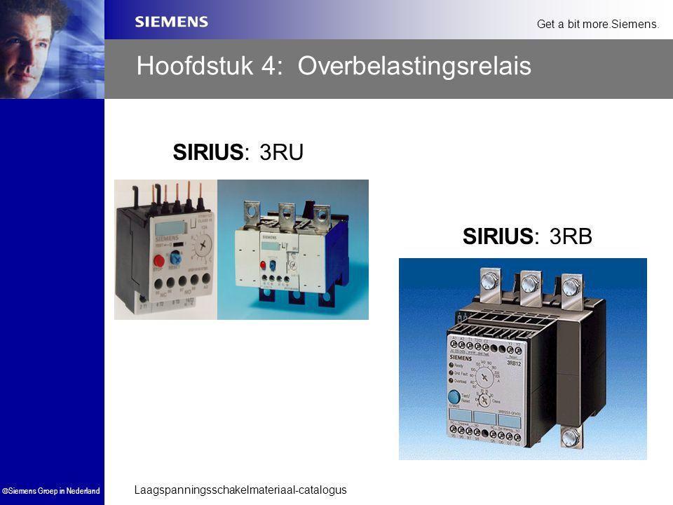 Laagspanningsschakelmateriaal-catalogus  Siemens Groep in Nederland Get a bit more.Siemens. Hoofdstuk 4: Overbelastingsrelais SIRIUS: 3RU SIRIUS: 3RB