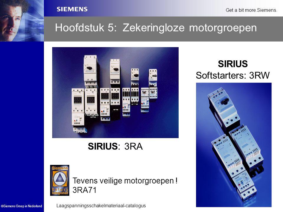 Laagspanningsschakelmateriaal-catalogus  Siemens Groep in Nederland Get a bit more.Siemens. Hoofdstuk 5: Zekeringloze motorgroepen SIRIUS Softstarter