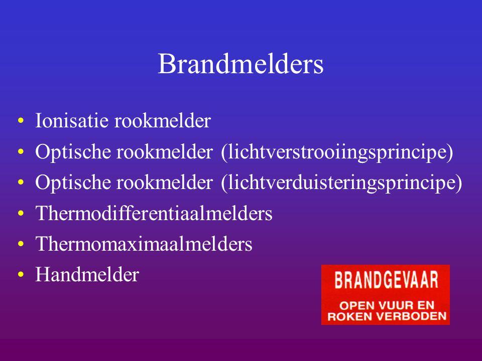 Brandmelders Ionisatie rookmelder Optische rookmelder (lichtverstrooiingsprincipe) Optische rookmelder (lichtverduisteringsprincipe) Thermodifferentia