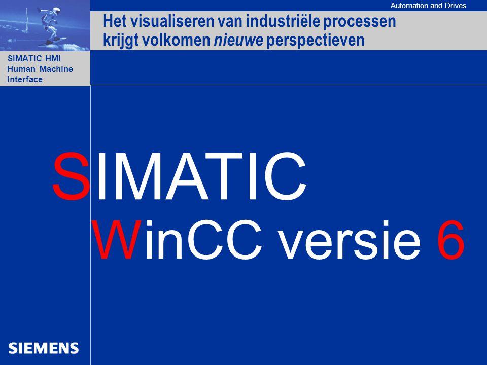 Automation and Drives SIMATIC HMI Human Machine Interface WinCC versie 6 Het visualiseren van industriële processen krijgt volkomen nieuwe perspectieven SIMATIC