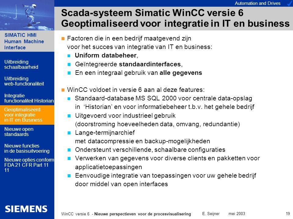 Automation and Drives SIMATIC HMI Human Machine Interface E. Seijner mei 2003 19 WinCC versie 6 - Nieuwe perspectieven voor de procesvisualisering Sca