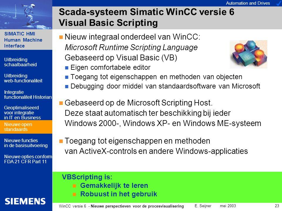 Automation and Drives SIMATIC HMI Human Machine Interface E. Seijner mei 2003 23 WinCC versie 6 - Nieuwe perspectieven voor de procesvisualisering VBS