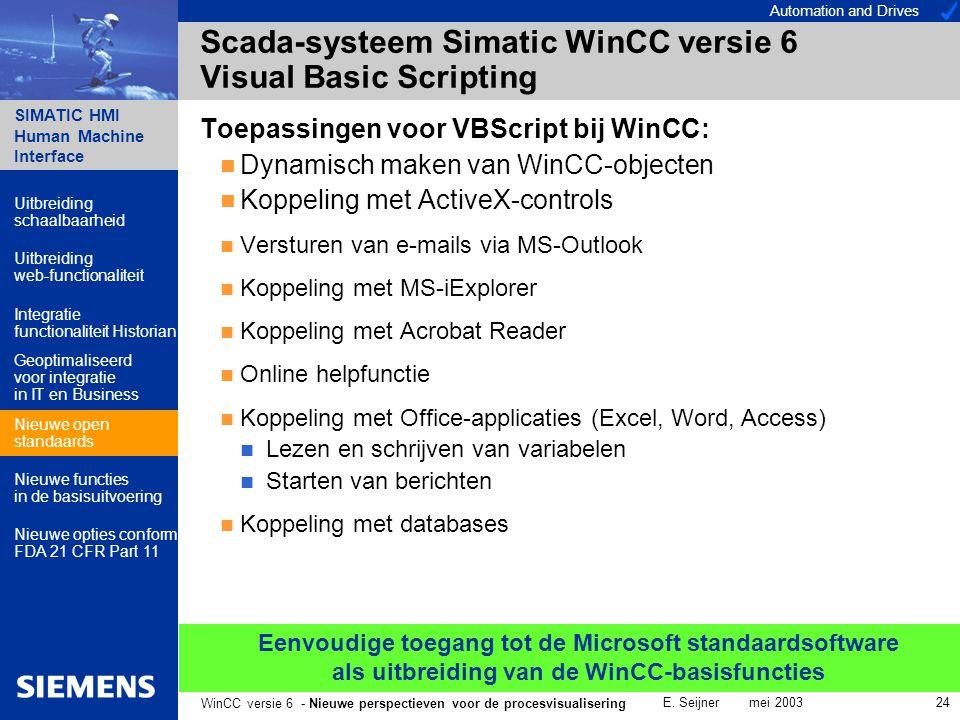 Automation and Drives SIMATIC HMI Human Machine Interface E. Seijner mei 2003 24 WinCC versie 6 - Nieuwe perspectieven voor de procesvisualisering Sca