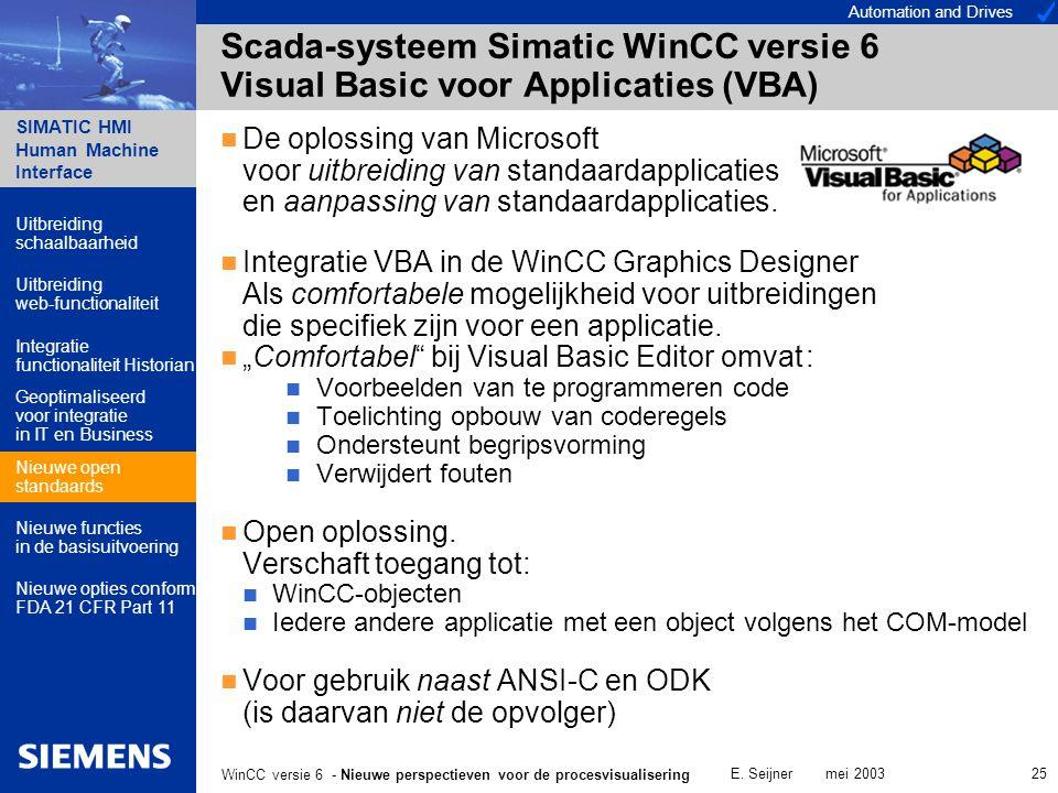 Automation and Drives SIMATIC HMI Human Machine Interface E. Seijner mei 2003 25 WinCC versie 6 - Nieuwe perspectieven voor de procesvisualisering Sca