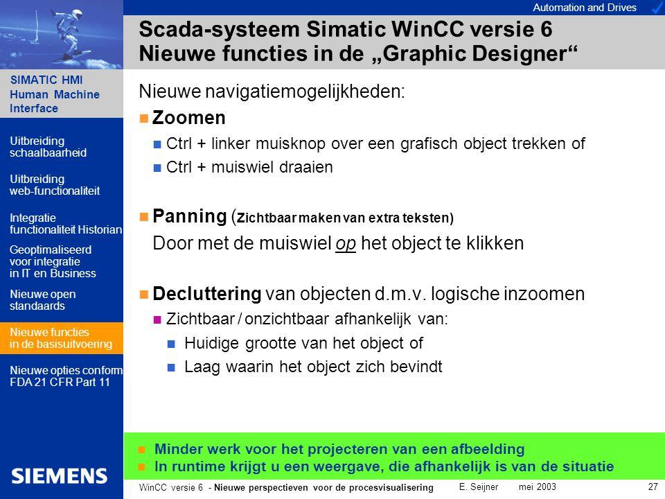 Automation and Drives SIMATIC HMI Human Machine Interface E. Seijner mei 2003 27 WinCC versie 6 - Nieuwe perspectieven voor de procesvisualisering Sca