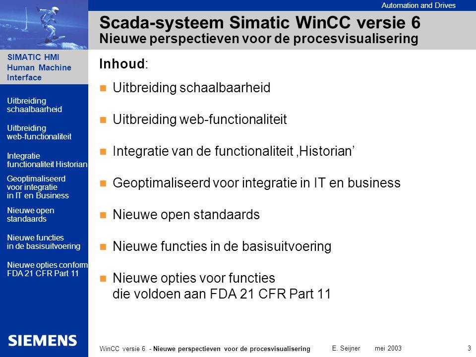 Automation and Drives SIMATIC HMI Human Machine Interface E. Seijner mei 2003 3 WinCC versie 6 - Nieuwe perspectieven voor de procesvisualisering Scad