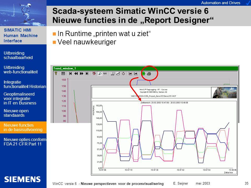 Automation and Drives SIMATIC HMI Human Machine Interface E. Seijner mei 2003 35 WinCC versie 6 - Nieuwe perspectieven voor de procesvisualisering Sca