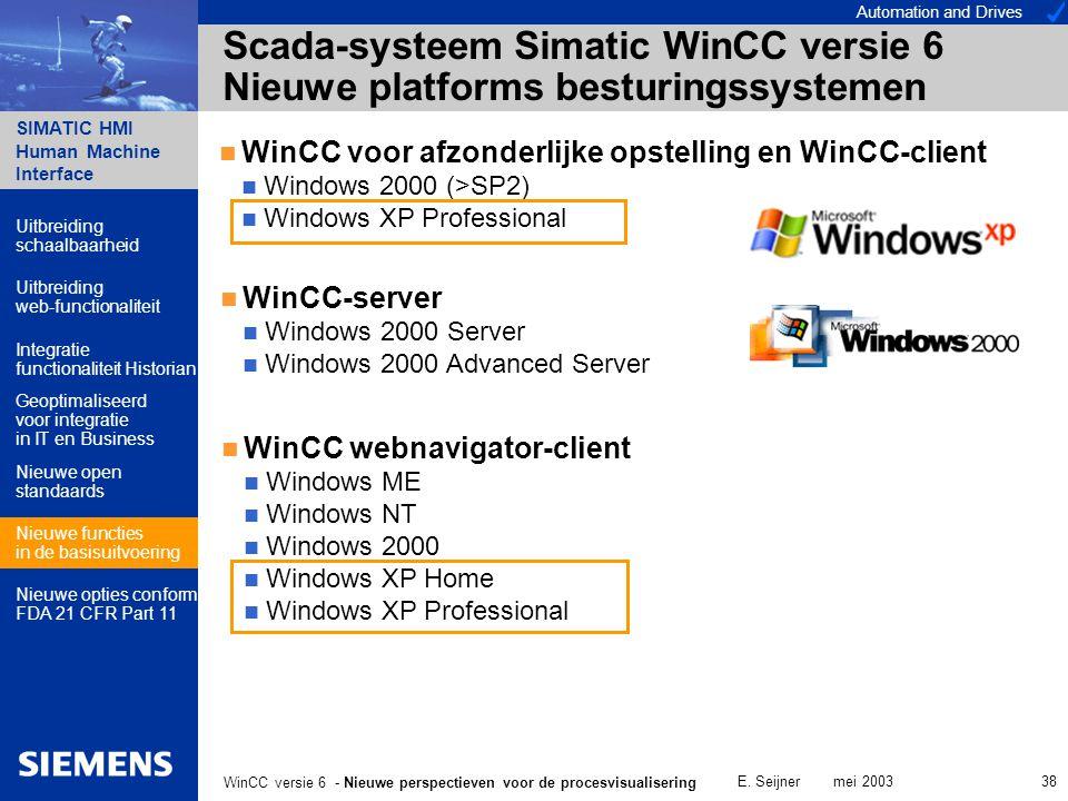 Automation and Drives SIMATIC HMI Human Machine Interface E. Seijner mei 2003 38 WinCC versie 6 - Nieuwe perspectieven voor de procesvisualisering Sca