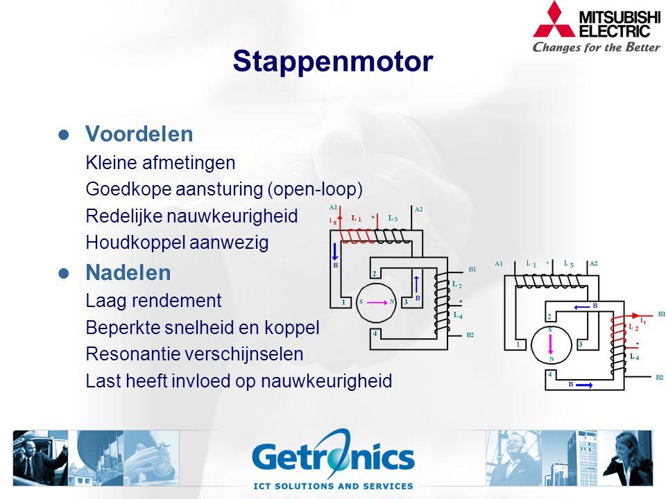 Servomotoren Stappenmotor eenvoudig - goedkoop - niet nauwkeurig - laag rendement DC servomotor Voorloper servotechniek - onderhoudsgevoelig - lage to