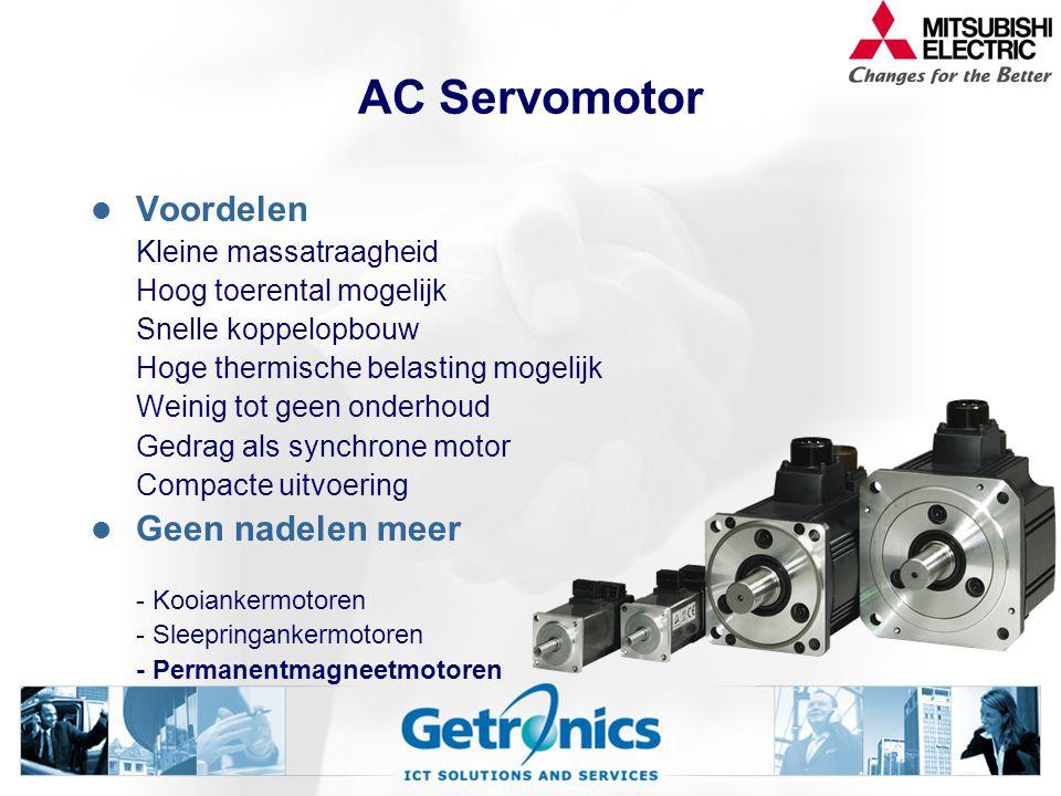 DC Servomotor Geen voordelen meer Was voor zeer grote vermogens Voorloper van servotechniek Nadelen Onderhoudsgevoelig Koolborstels Voeding voor gelij