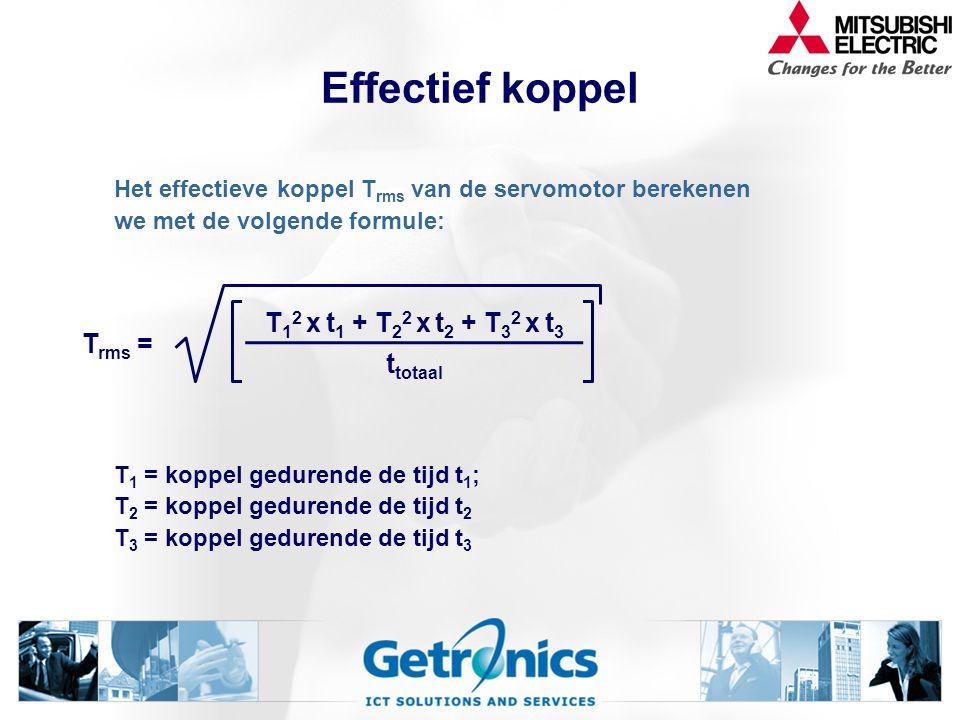 Effectief koppel Acceleratie In bedrijf Deceleratie t totaal t1t1 t3t3 t2t2 t sec T Nm 1 2 3 4 5 6 -4 -3 -2 0 1349105111213276814161517