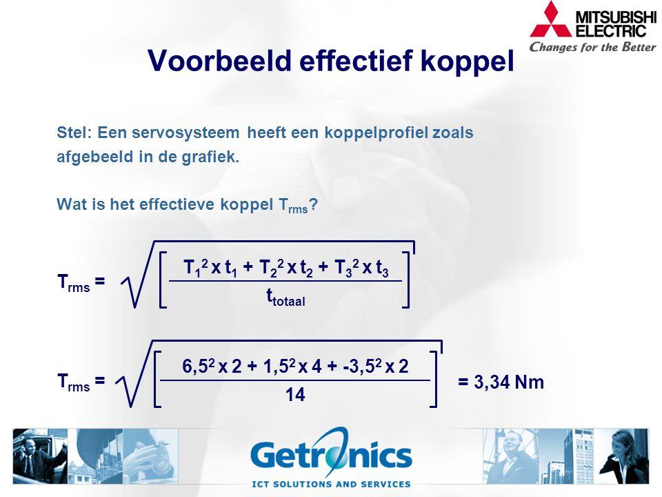 Effectief koppel Het effectieve koppel T rms van de servomotor berekenen we met de volgende formule: T 1 = koppel gedurende de tijd t 1 ; T 2 = koppel