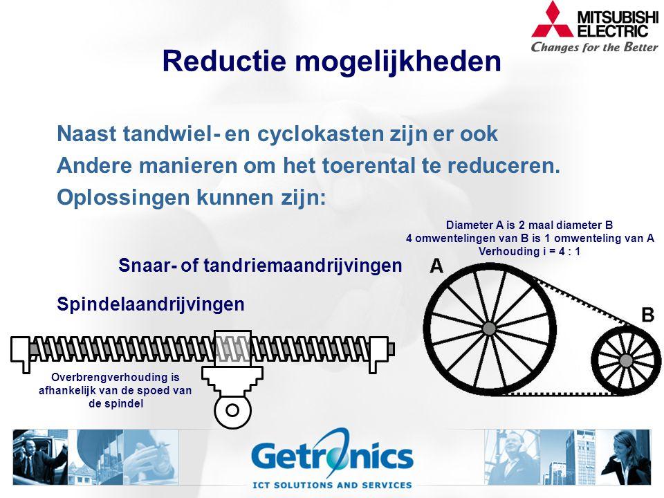 Voorbeeld reductor Stel: Het aandrijfkoppel van een servomotor is 6 Nm en het toerental is 1000 omw/min. De reductieverhouding is 5:1. Wat is het toer