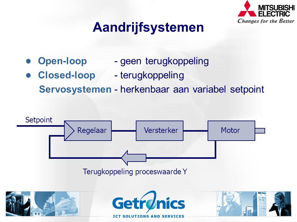 Aandrijfsystemen Open-loop- geen terugkoppeling Closed-loop- terugkoppeling Servosystemen- herkenbaar aan variabel setpoint RegelaarVersterkerMotor Terugkoppeling proceswaarde Y Setpoint