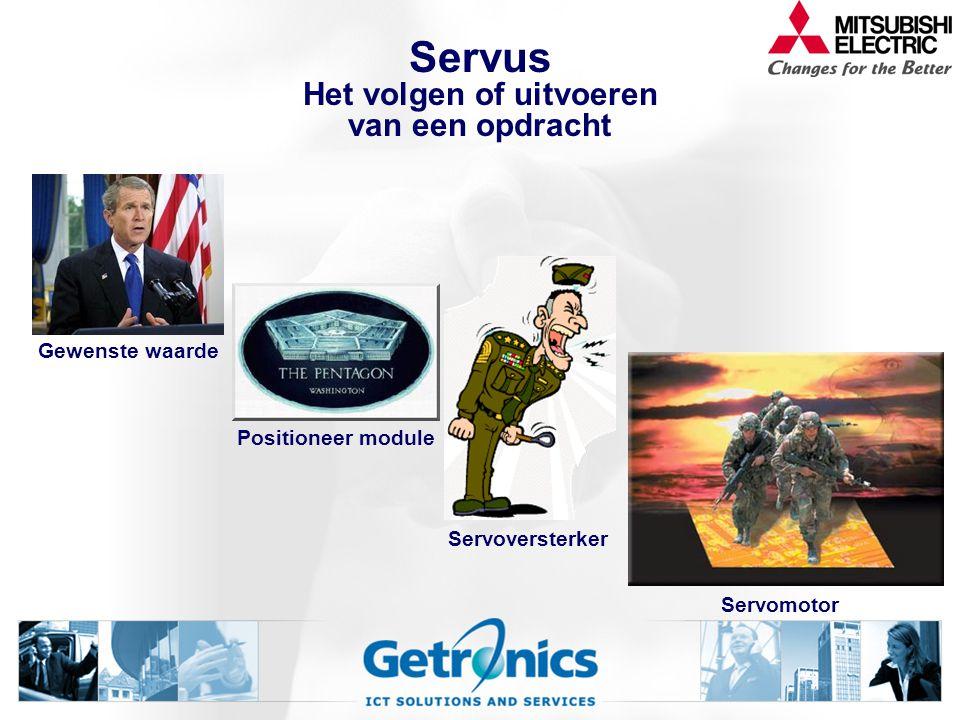 Servus Het volgen of uitvoeren van een opdracht Positioneer module Gewenste waarde Servoversterker Servomotor