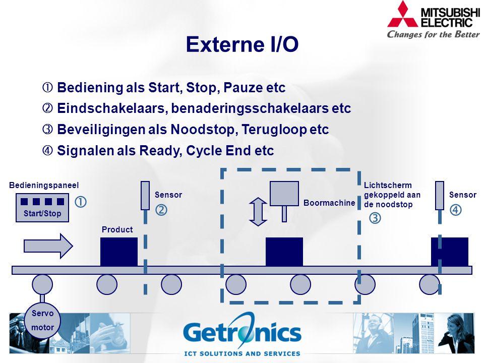 Externe I/O Boormachine Servo motor Product Start/Stop  Bedieningspaneel  Bediening als Start, Stop, Pauze etc Sensor   Eindschakelaars, benaderingsschakelaars etc Lichtscherm gekoppeld aan de noodstop   Beveiligingen als Noodstop, Terugloop etc Sensor   Signalen als Ready, Cycle End etc