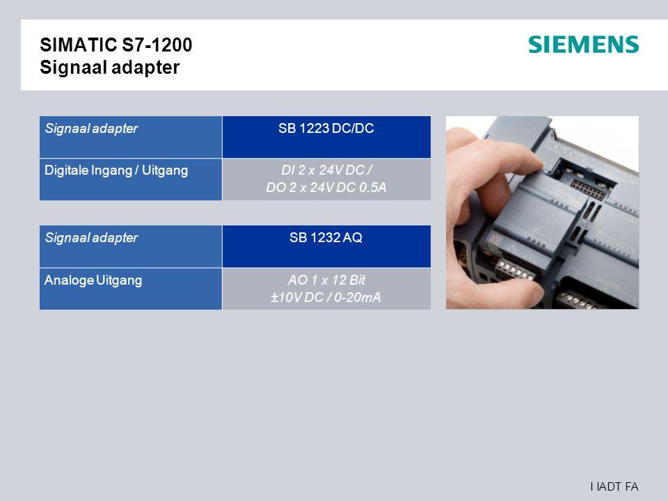 I IADT FA SIMATIC S7-1200 Signaal adapter Signaal adapter SB 1223 DC/DC Digitale Ingang / Uitgang DI 2 x 24V DC / DO 2 x 24V DC 0.5A Signaal adapter S