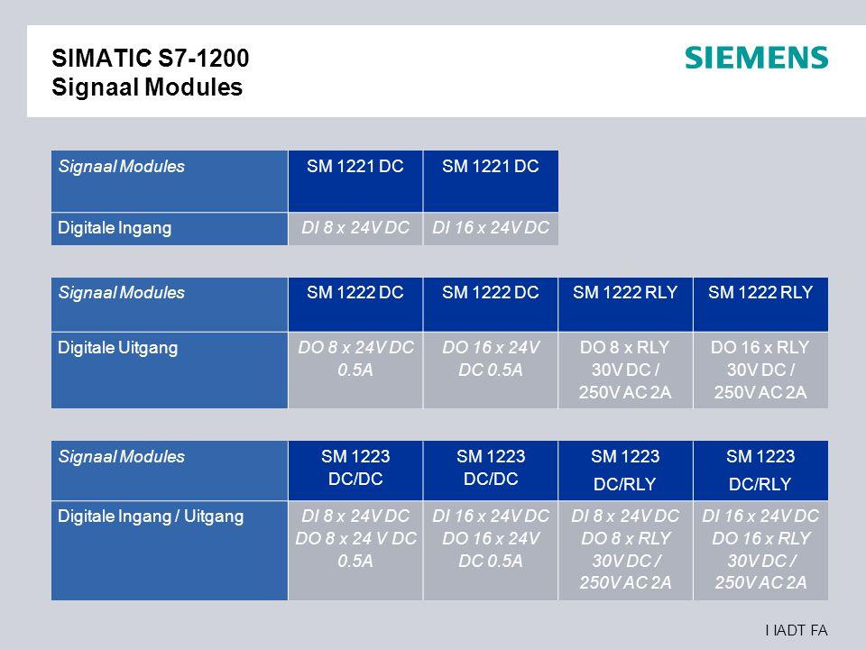 I IADT FA SIMATIC S7-1200 Signaal Modules Signaal ModulesSM 1221 DC Digitale IngangDI 8 x 24V DCDI 16 x 24V DC Signaal Modules SM 1222 DC SM 1222 RLY