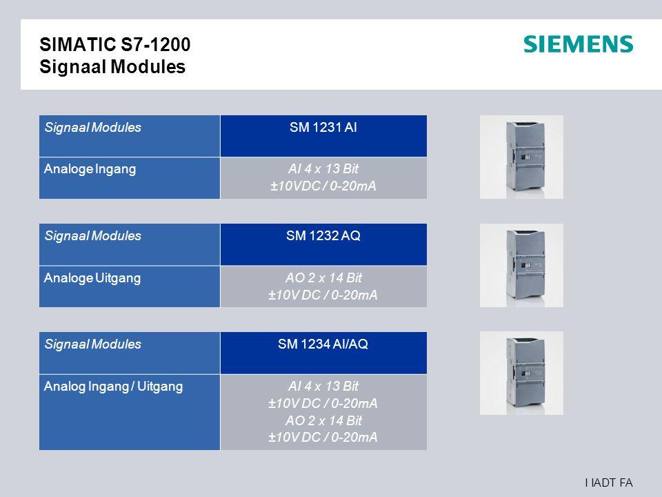 I IADT FA SIMATIC S7-1200 Signaal Modules Signaal Modules SM 1231 AI Analoge Ingang AI 4 x 13 Bit ±10VDC / 0-20mA Signaal Modules SM 1232 AQ Analoge U