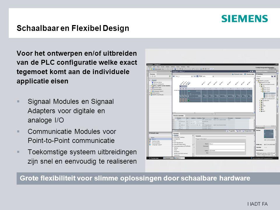I IADT FA Schaalbaar en Flexibel Design Voor het ontwerpen en/of uitbreiden van de PLC configuratie welke exact tegemoet komt aan de individuele appli