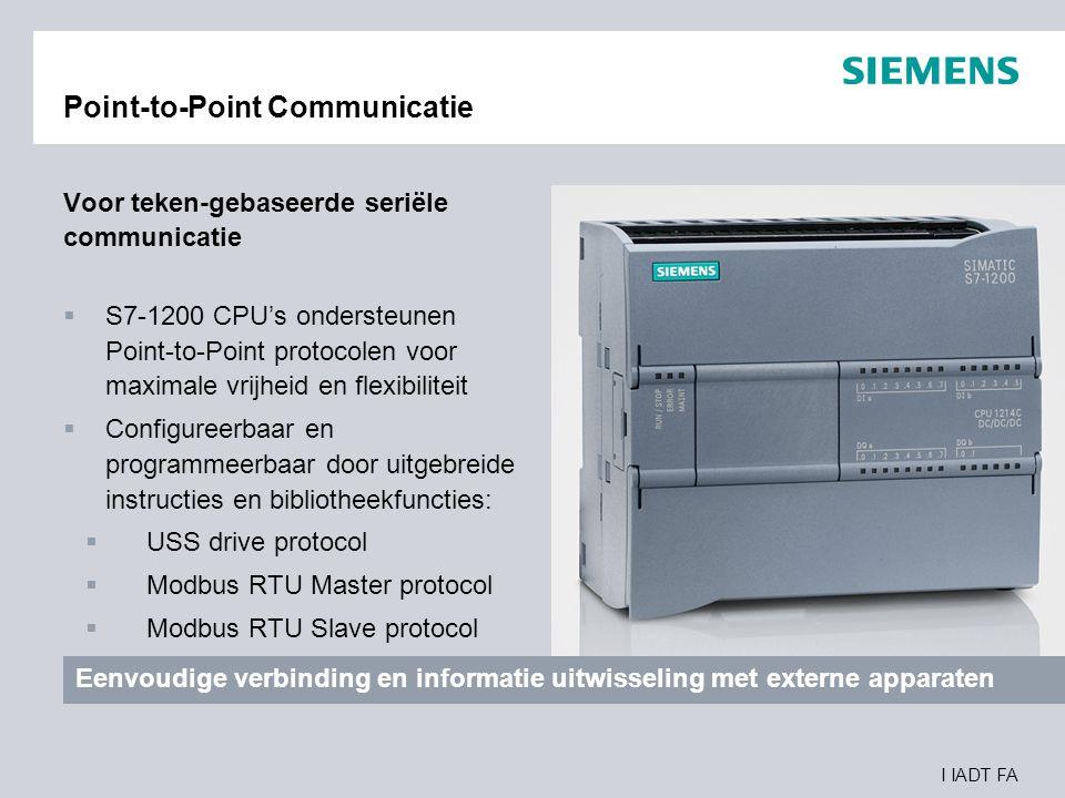 I IADT FA Point-to-Point Communicatie Voor teken-gebaseerde seriële communicatie  S7-1200 CPU's ondersteunen Point-to-Point protocolen voor maximale