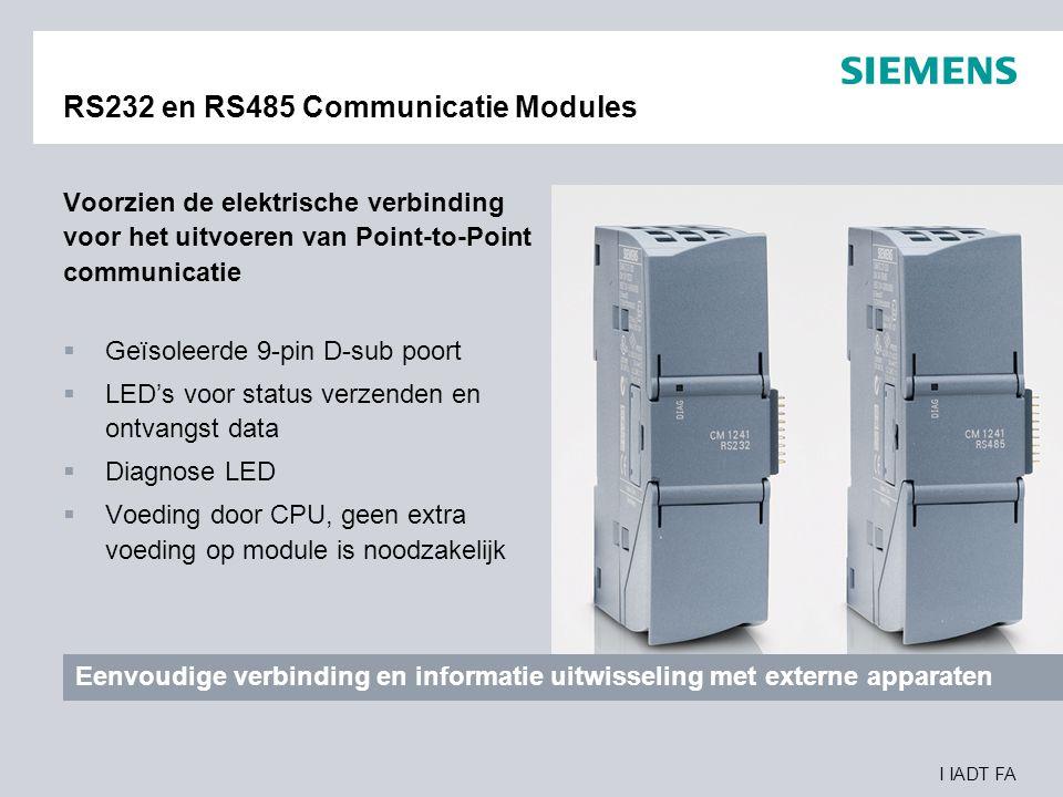 I IADT FA RS232 en RS485 Communicatie Modules Voorzien de elektrische verbinding voor het uitvoeren van Point-to-Point communicatie  Geïsoleerde 9-pi