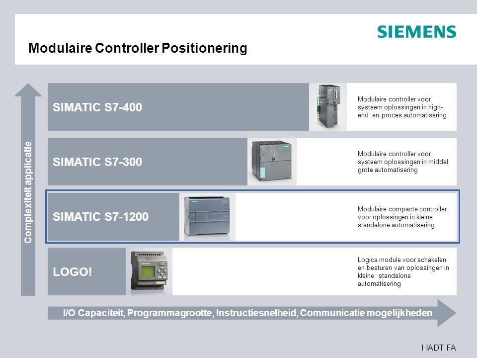 I IADT FA Modulaire Controller Positionering Complexiteit applicatie I/O Capaciteit, Programmagrootte, Instructiesnelheid, Communicatie mogelijkheden