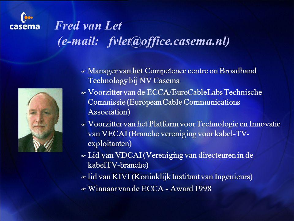 Satellieten en Diensten Fred van Let NV Casema ICT Telecom Satellietcommunicatie Master ClassDen Haag 02 november 2001