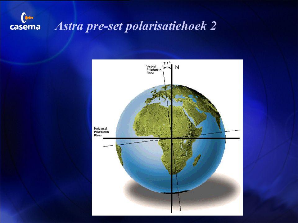 Astra pre-set polarisatiehoek 1  Om de polarisatie offset hoek te minimaliseren op ontvangplaatsen in het centrum van de Astra footprints, wordt een
