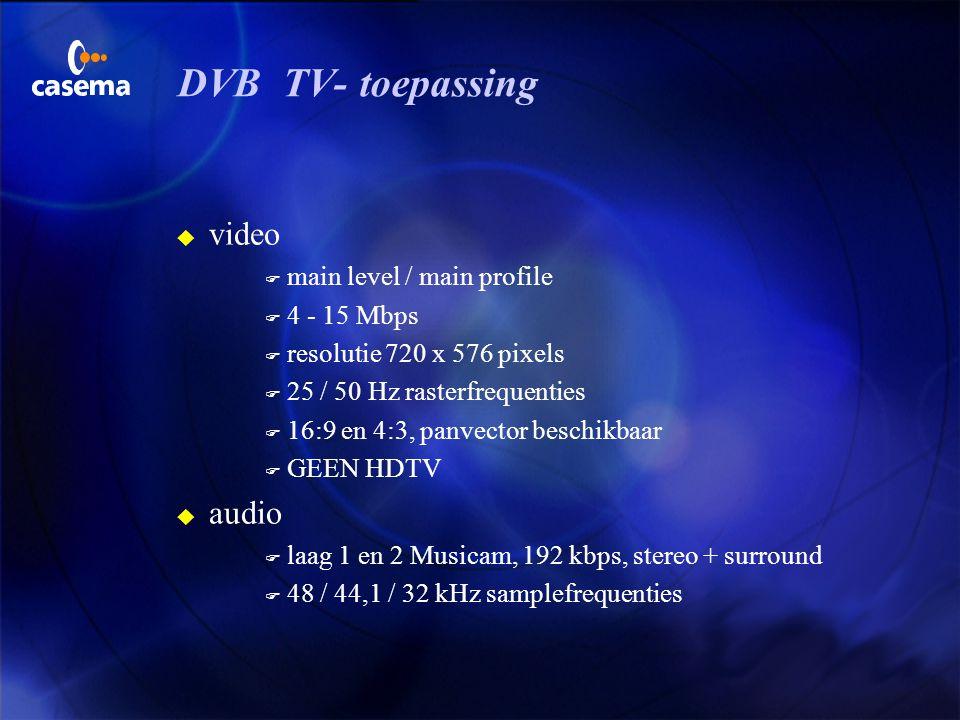 MPEG-2 video CD i = MPEG-1 genoemde bitrates zijn maxima X = geen zinvolle combinatie