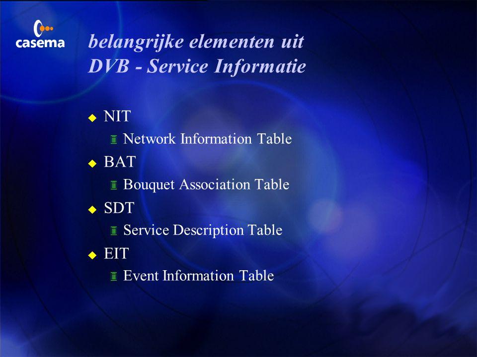 SI, Service Informatie 3 met behulp van de SI wordt informatie aan de DVB - ontvanger (de decoder) doorgegeven waardoor deze op een eenvoudige manier