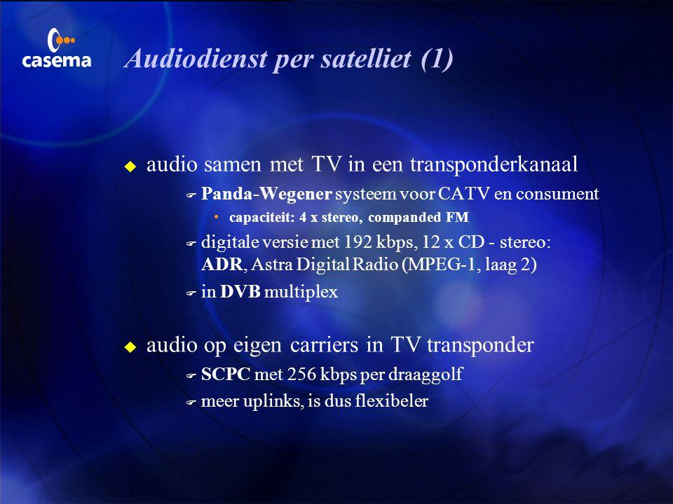 MPEG-1 en MPEG-2 audio 3 Laag 1 (Europa) vereenvoudigd Musicam reductie 4:1, CD stereo met 384 kbps audio storage, met modificatie: DCC 3 Laag 2 (Euro