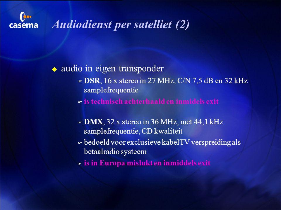 Audiodienst per satelliet (1) u audio samen met TV in een transponderkanaal F Panda-Wegener systeem voor CATV en consument capaciteit: 4 x stereo, com