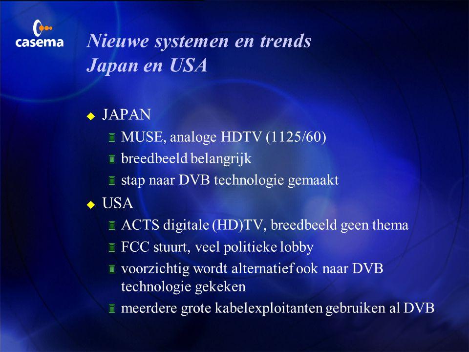 Nieuwe systemen en trends Europa u (D-/ D2-/ HD-) MAC verdwenen u DVB, digitale TV, sterk in opkomst op satelliet en kabel; vanaf 2001 in Nederland oo