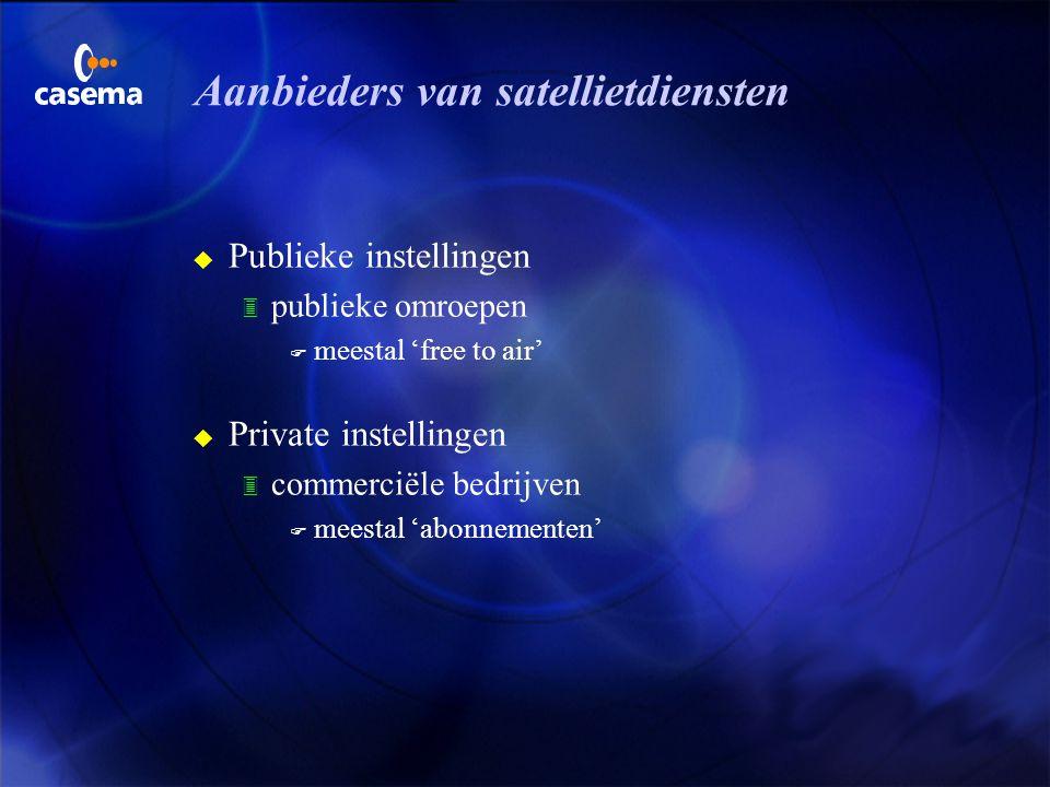 Satellietdiensten voor de consument u Omroep (free to air) 3 televisie 3 radio 3 teletekst u Abonnee diensten (pay services) 3 televisie 3 radio 3 mul