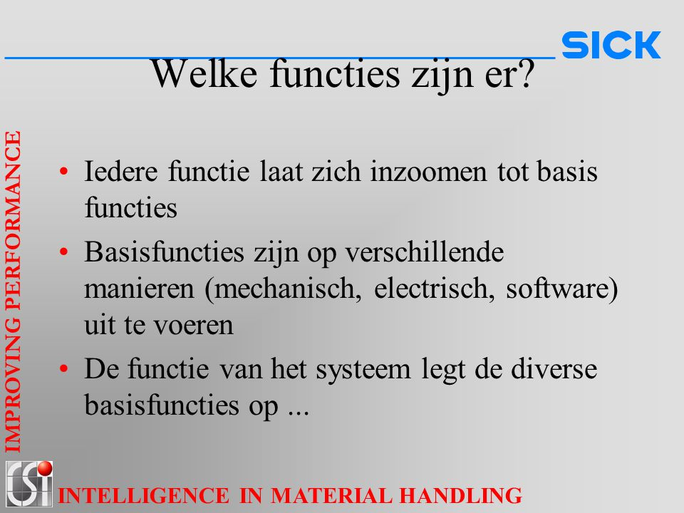 IMPROVING PERFORMANCE INTELLIGENCE IN MATERIAL HANDLING Welke functies zijn er.