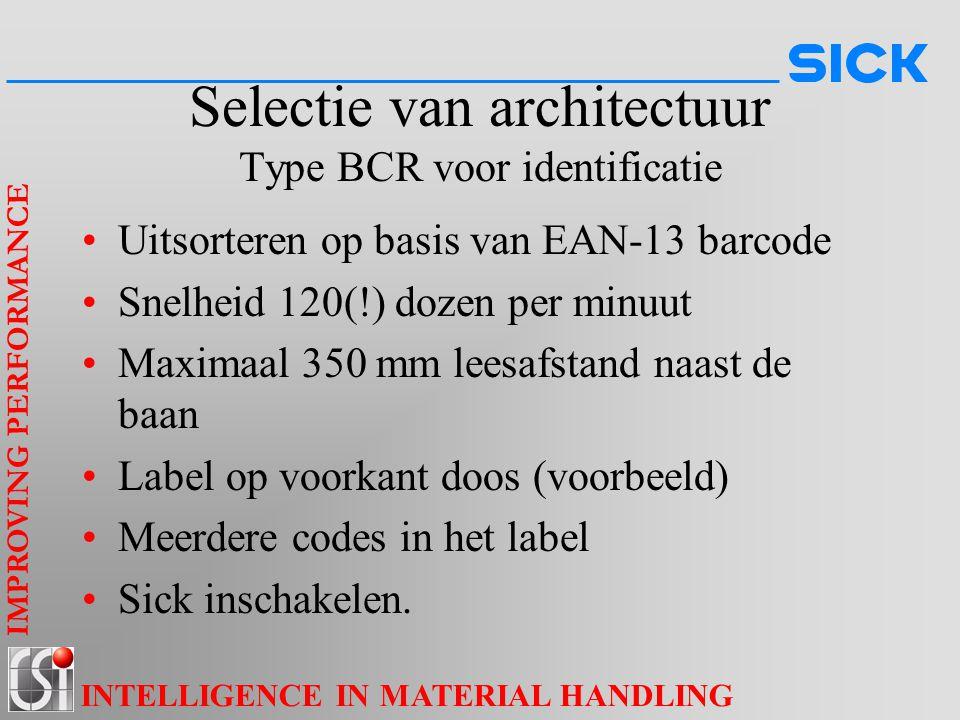 IMPROVING PERFORMANCE INTELLIGENCE IN MATERIAL HANDLING Selectie van architectuur Type BCR voor identificatie Uitsorteren op basis van EAN-13 barcode
