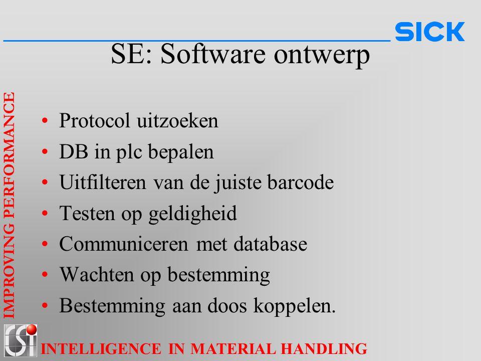 IMPROVING PERFORMANCE INTELLIGENCE IN MATERIAL HANDLING SE: Software ontwerp Protocol uitzoeken DB in plc bepalen Uitfilteren van de juiste barcode Te