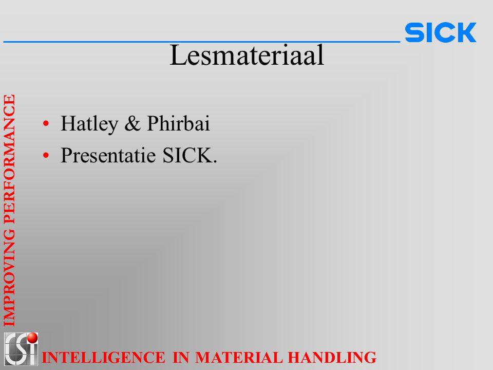 IMPROVING PERFORMANCE INTELLIGENCE IN MATERIAL HANDLING Lesmateriaal Hatley & Phirbai Presentatie SICK.