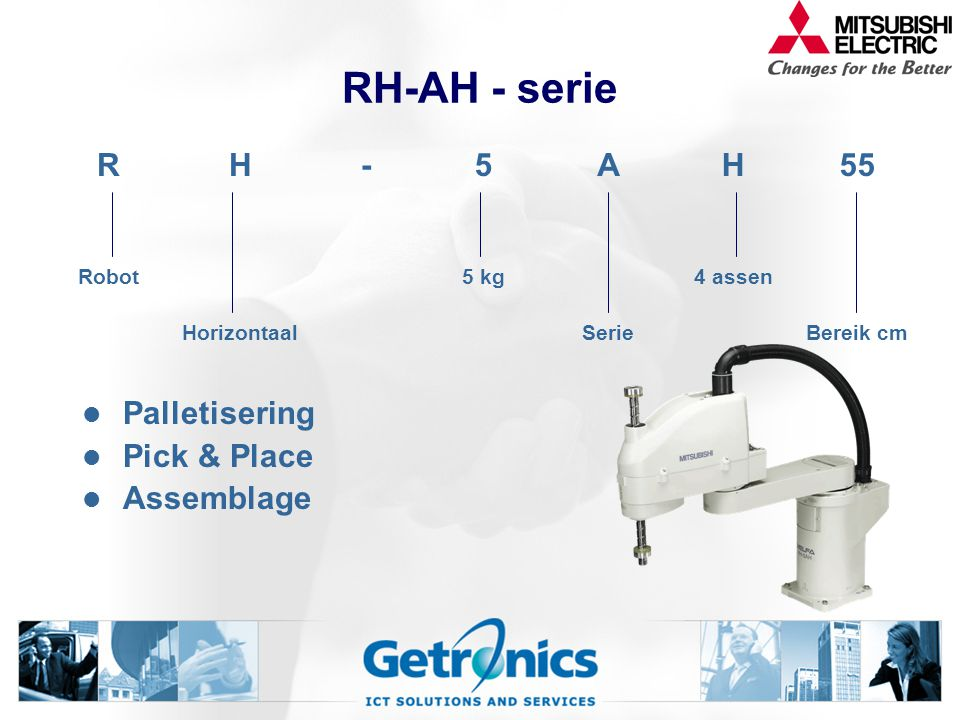 RH-AH - serie Palletisering Pick & Place Assemblage RH-5AH55 Robot5 kg4 assen HorizontaalSerieBereik cm