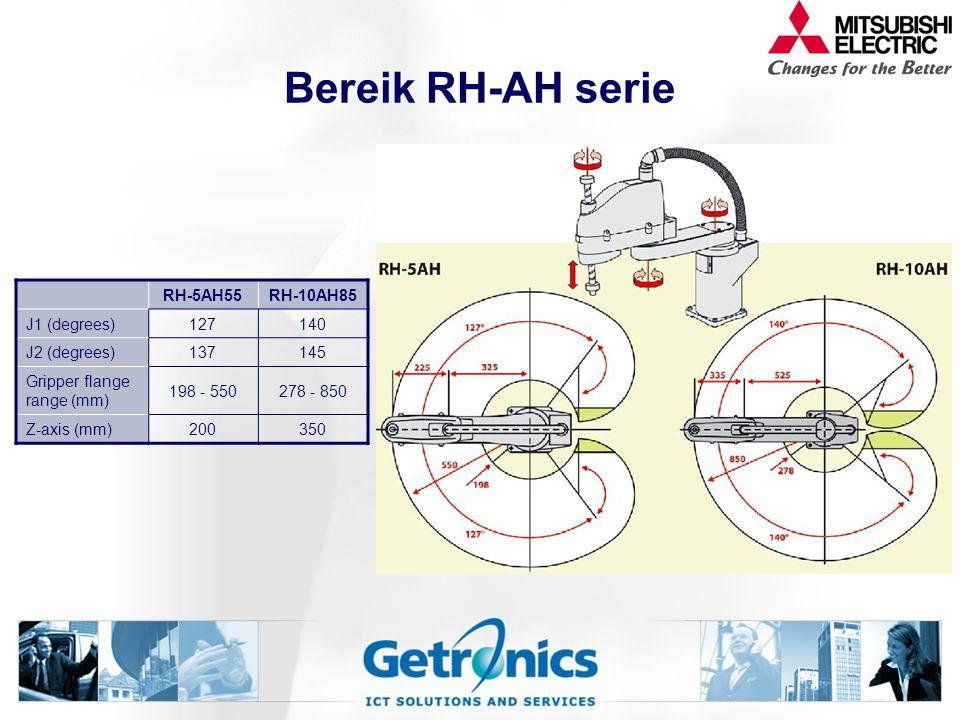 Bereik RH-AH serie RH-5AH55RH-10AH85 J1 (degrees)127140 J2 (degrees)137145 Gripper flange range (mm) 198 - 550278 - 850 Z-axis (mm)200350