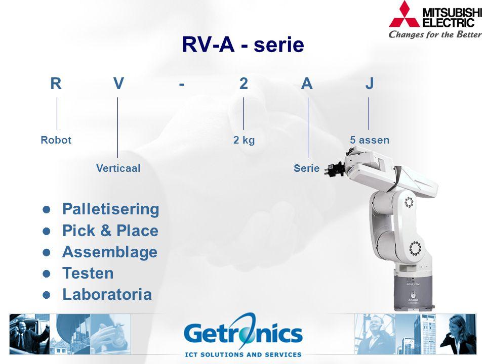 RV-A - serie Palletisering Pick & Place Assemblage Testen Laboratoria RV-2AJ Robot2 kg5 assen VerticaalSerie