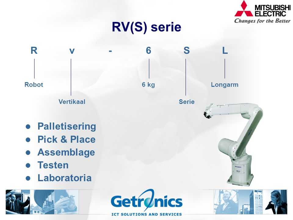 RV(S) serie Palletisering Pick & Place Assemblage Testen Laboratoria Rv-6SL Robot6 kgLongarm VertikaalSerie