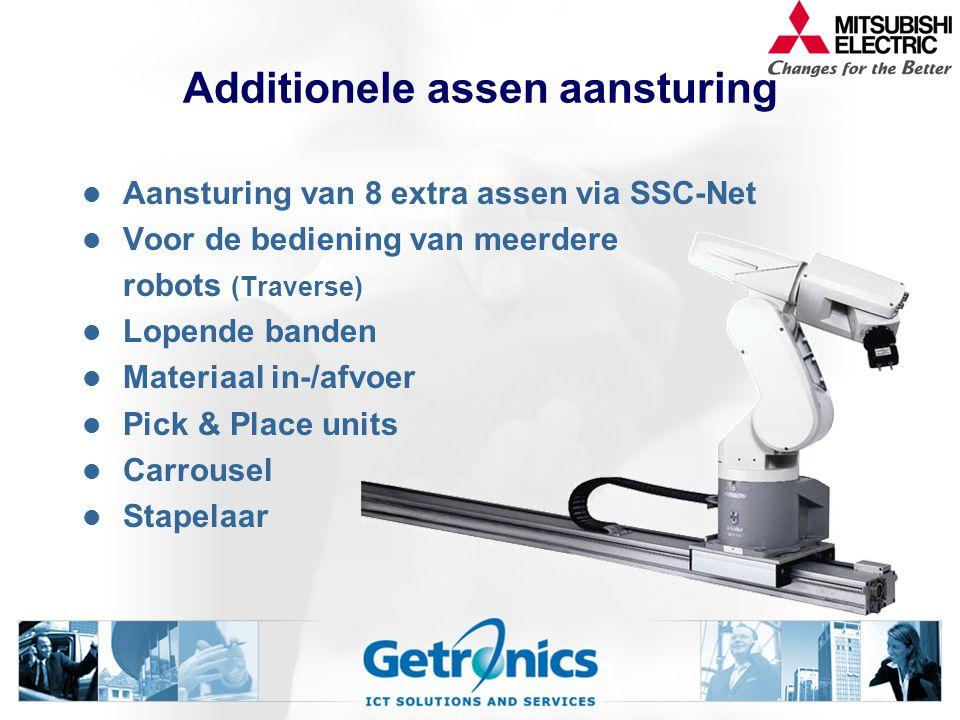 Additionele assen aansturing Aansturing van 8 extra assen via SSC-Net Voor de bediening van meerdere robots (Traverse) Lopende banden Materiaal in-/afvoer Pick & Place units Carrousel Stapelaar