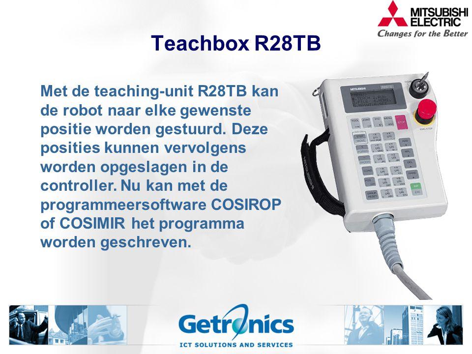 Teachbox R28TB Met de teaching-unit R28TB kan de robot naar elke gewenste positie worden gestuurd.