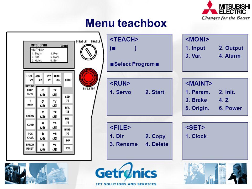 Menu teachbox ( ∎ ) ∎ Select Program ∎ 1.Input 3.