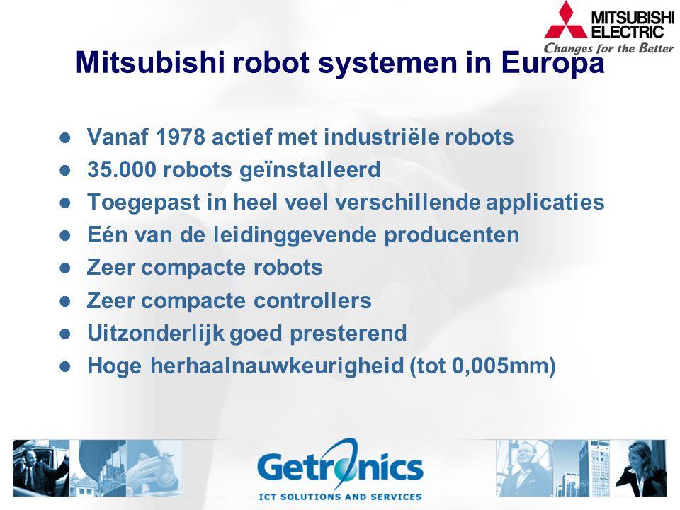 Mitsubishi robot systemen in Europa Vanaf 1978 actief met industriële robots 35.000 robots geïnstalleerd Toegepast in heel veel verschillende applicaties Eén van de leidinggevende producenten Zeer compacte robots Zeer compacte controllers Uitzonderlijk goed presterend Hoge herhaalnauwkeurigheid (tot 0,005mm)